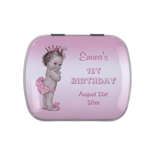 1st Birthday Vintage Princess Candy Tin