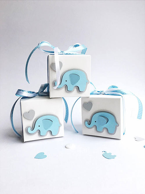 Elephant Boy Baby Shower Favor Boxes
