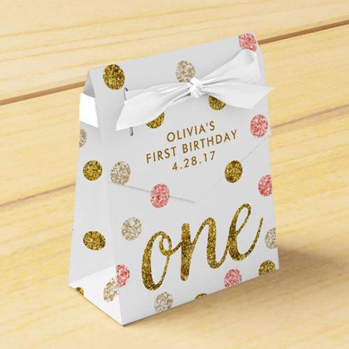 One Glitter Confetti 1st Birthday Pink Gold Favor Box