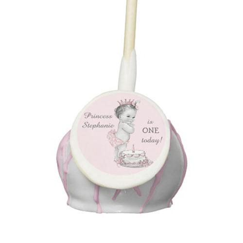 Princess Cake 1st Birthday Personalized Cake Pops