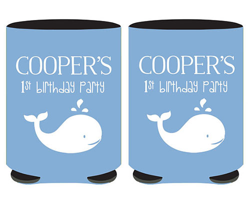 Whale Themed 1st Birthday Beer Can Coolers