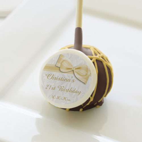 21st Birthday Damask And Faux Bow Cake Pops