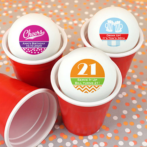 21st Birthday Party Personalized Ping Pong Balls