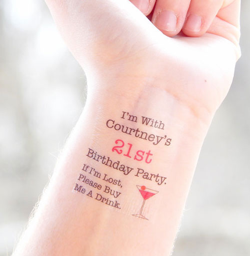 21st Birthday Party Temporary Tattoos
