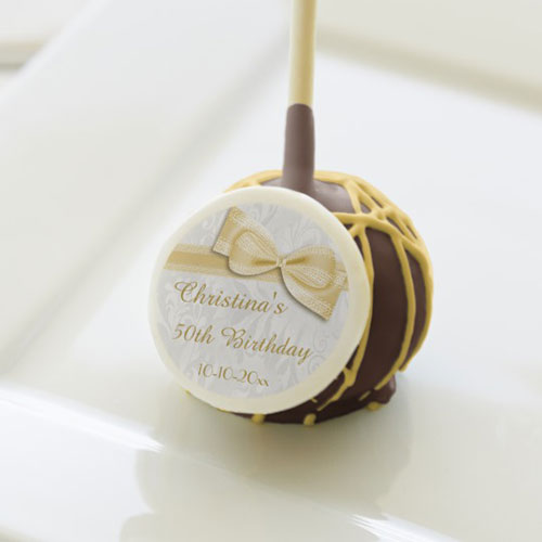 50th Birthday Damask Faux Bow Cake Pops