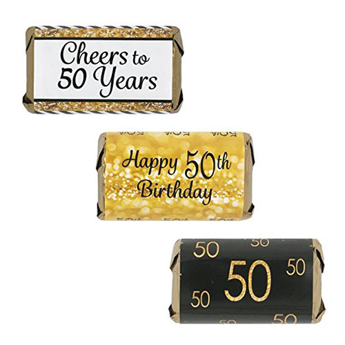 50th Birthday Party Miniatures Candy Bar Wrapper Stickers