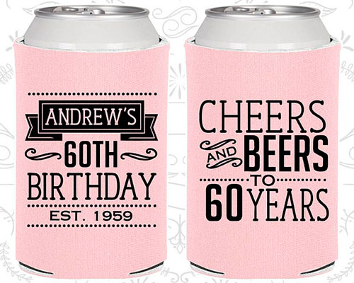 60th Birthday Can Coolers