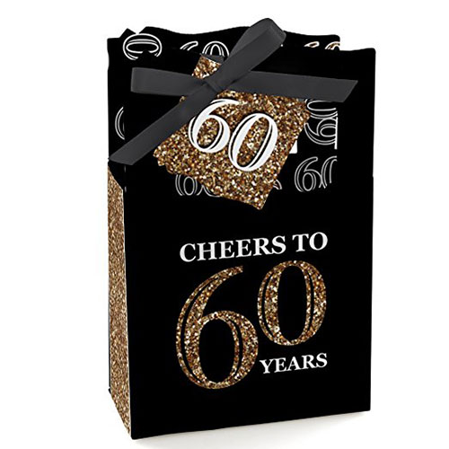 60th Birthday Gold Birthday Party Favor Boxes