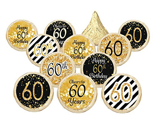 60th Birthday Party Favor Stickers