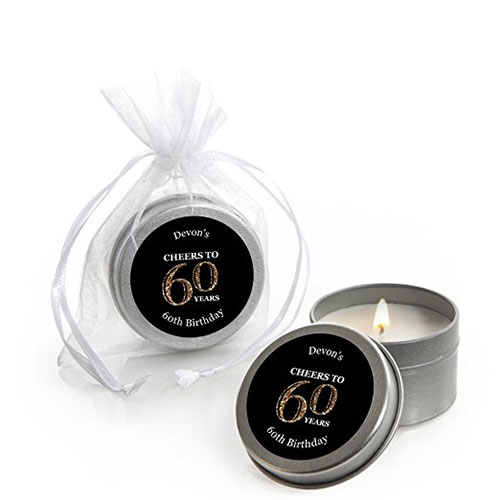 60th Birthday Personalized Candle Tin Birthday Party Favors