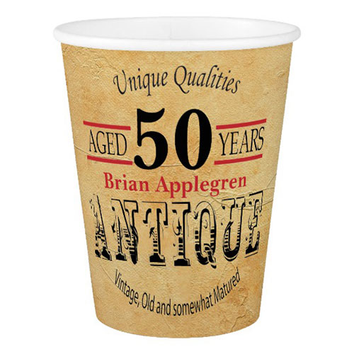 Antique & Vintage 50th Birthday Design Paper Cup
