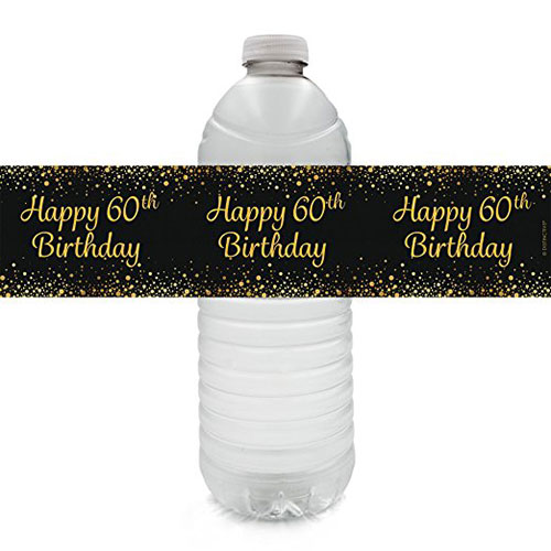 Black & Gold 60th Birthday Party Water Bottle Labels