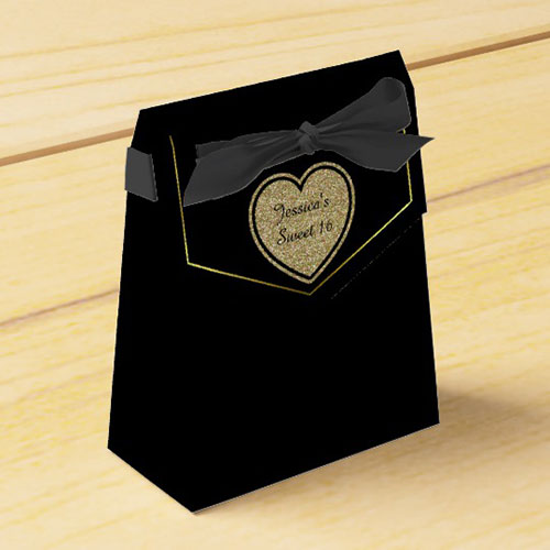 Black And Gold Sweet 16 Favor Gift Box