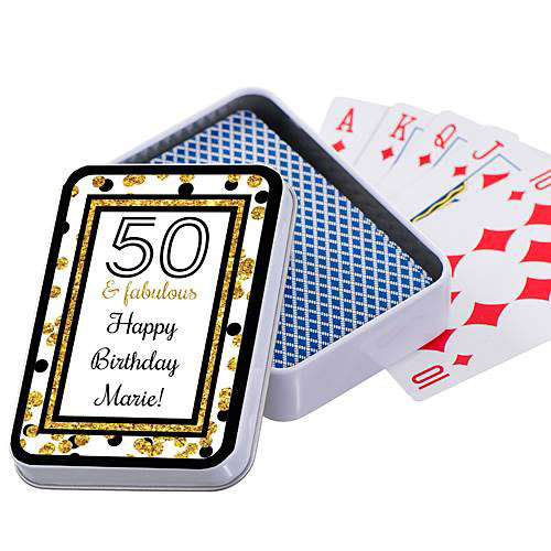 Cheers To You Gold 50 Personalized Playing Card Case