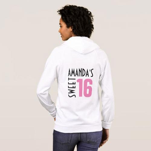 Custom Sweet 16 Hoodie Sweatshirt