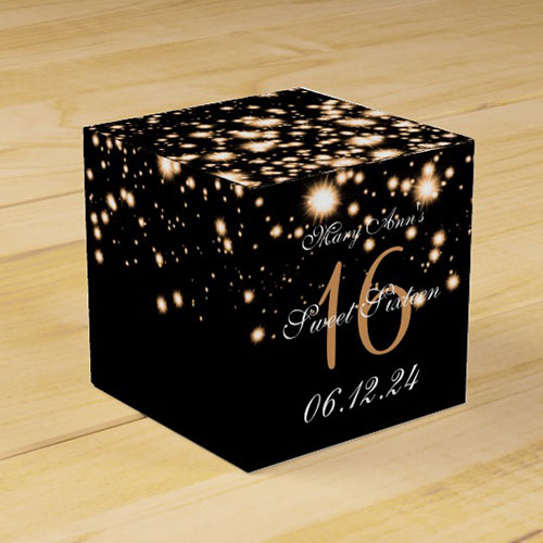 Elegant Sweet 16 Birthday Midnight Glam Gold Favor Box