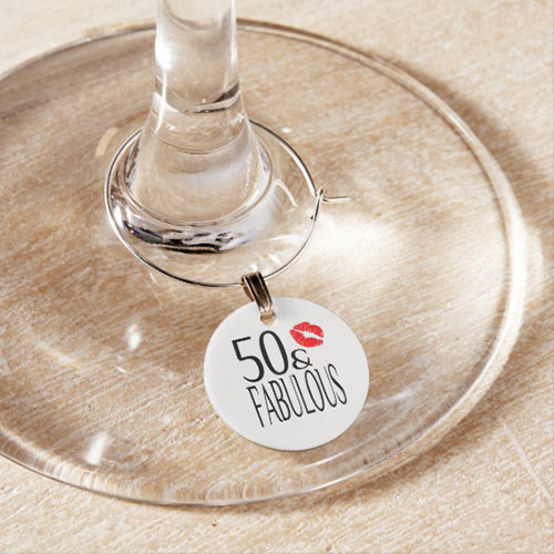 Fabulous Fifty Wine Glass Charm