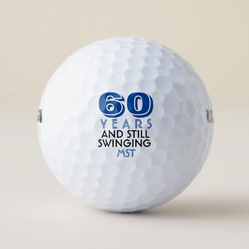 Funny 60th Birthday Party Monogrammed Golf Balls