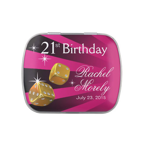 Las Vegas Rolling Dice 21st Birthday Fushia Jelly Belly Candy Tin