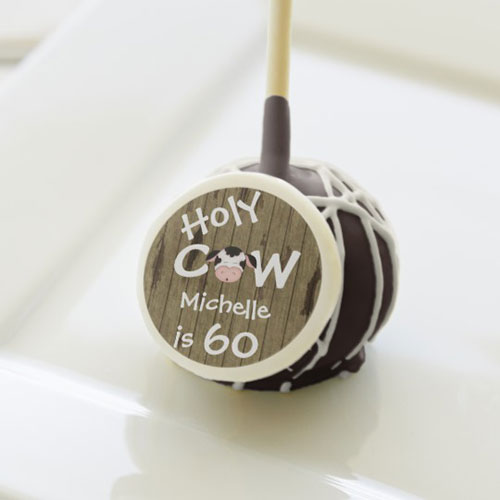 Personalized Holy Cow 60th Birthday Cakepop Favors