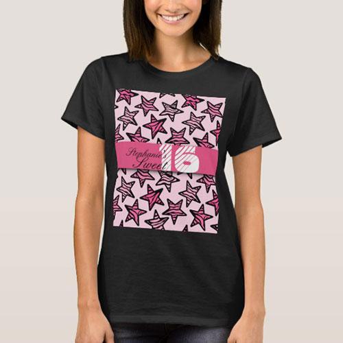Pink Zebra Stars Sweet 16 Birthday T Shirt