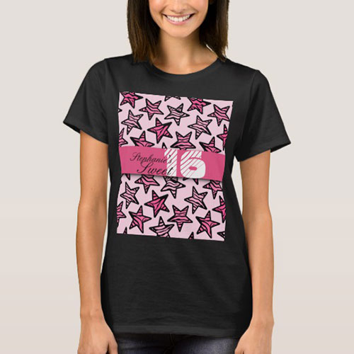 Pink Zebra Stars Sweet 16 Birthday T Shirt