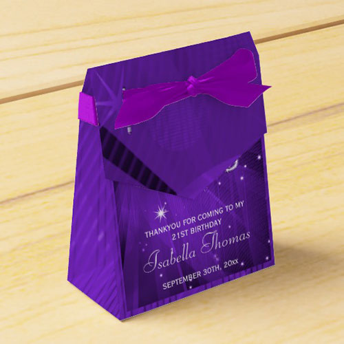 Purple Disco Ball And Sparkle Heels Favor Box