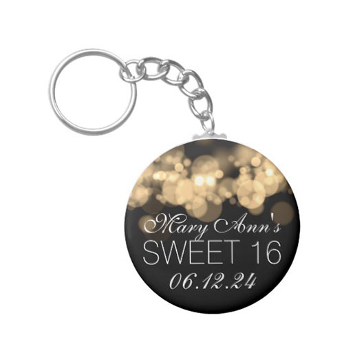 Sweet 16 Birthday Party Gold Bokeh Lights Keychain