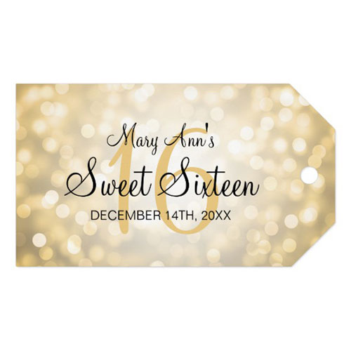 Sweet 16 Birthday Party Gold Glitter Lights Gift Tags