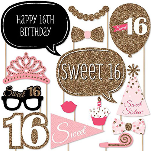 Sweet 16 Birthday Photo Booth Props Kit