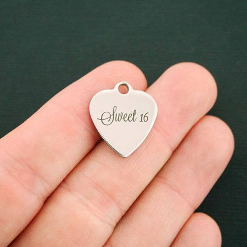 Sweet 16 Stainless Steel Charm