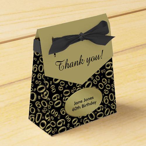 Thank You 60th Birthday Gold Black Favor Box